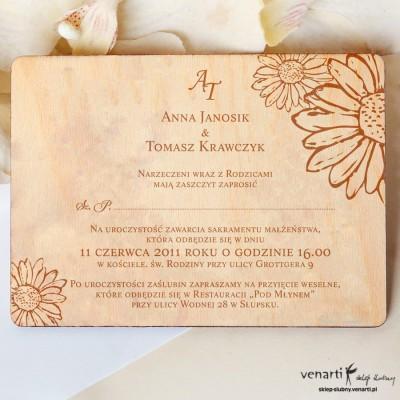 Drewniane zaproszenia ślubne Stokrotki grawer