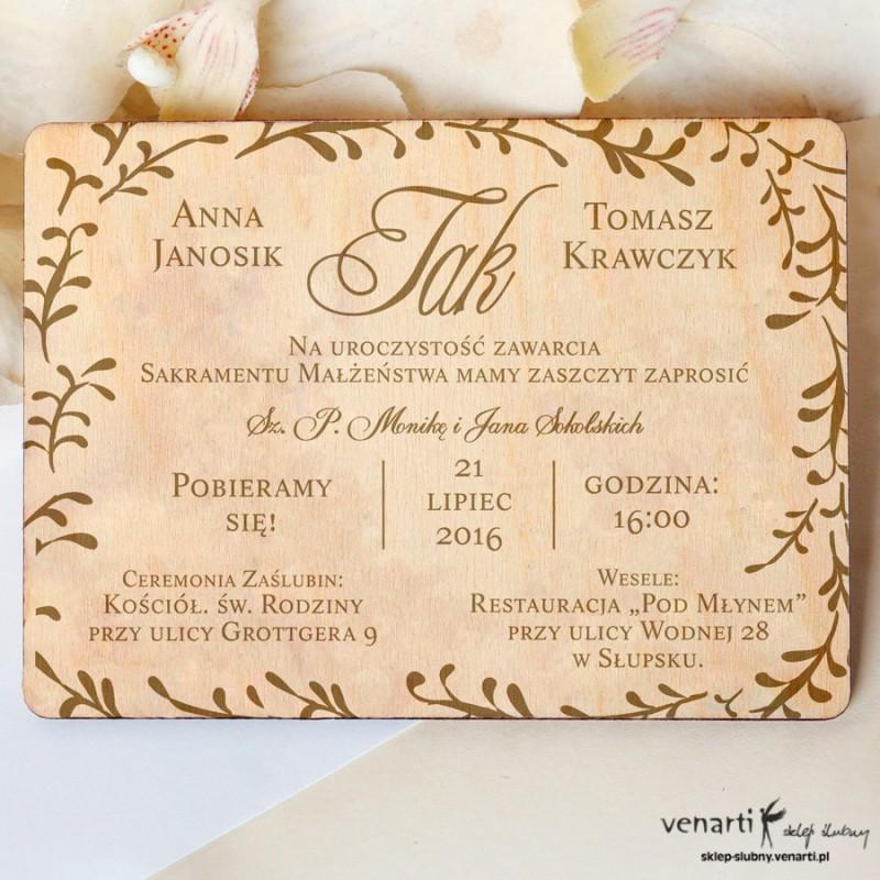 Drewniane zaproszenia ślubne Wzorek grawer