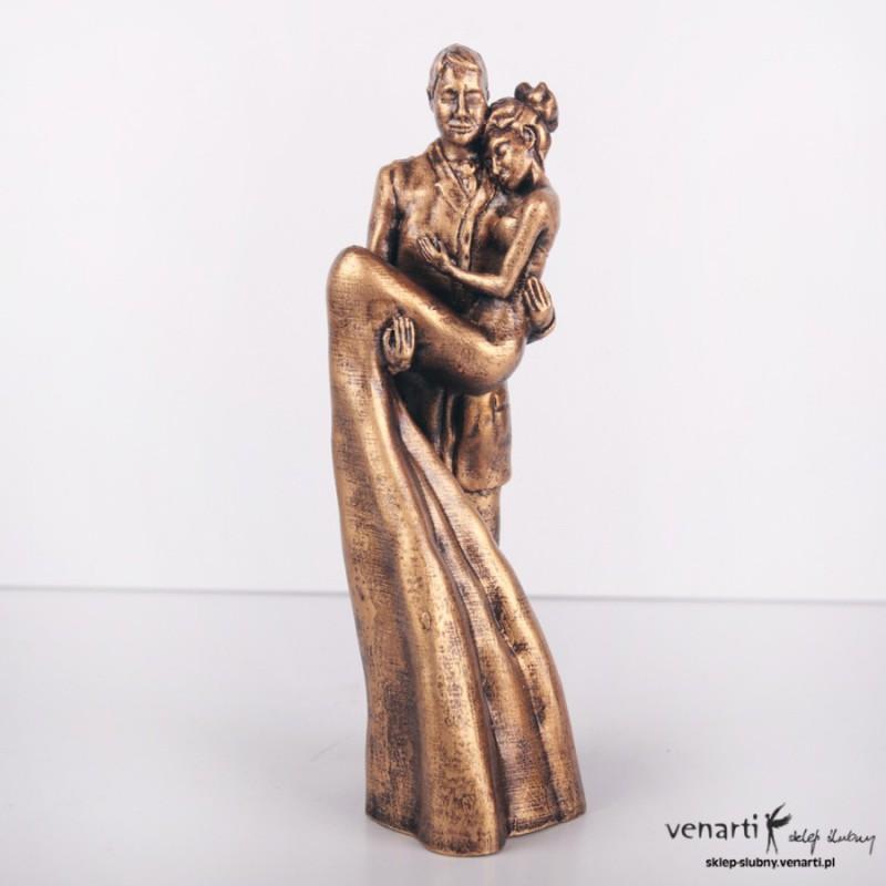 Figurki na tort Para młoda złota/srebrna