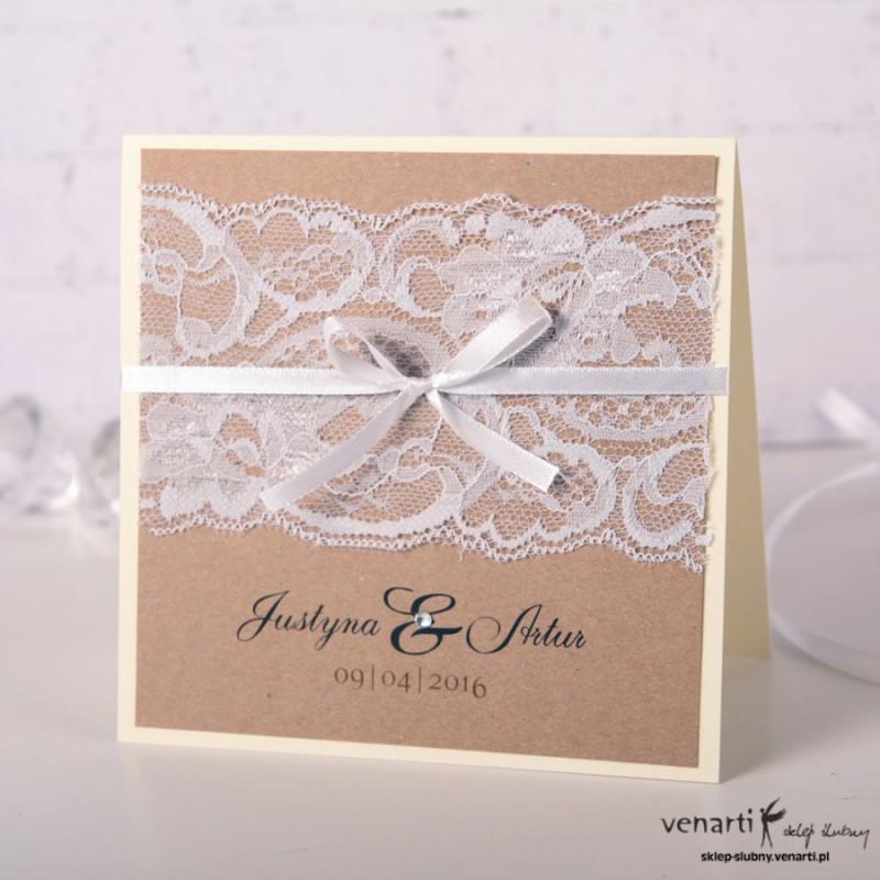 Zaproszenia ślubne z koronką rustykalne