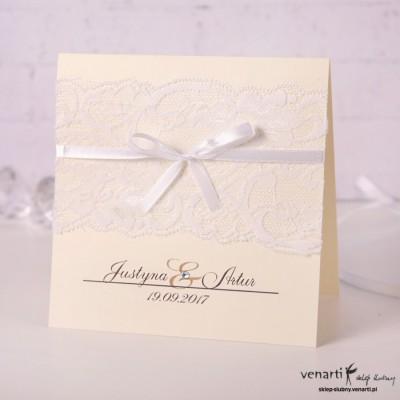 Zaproszenia ślubne z koronką rustykalne jasne