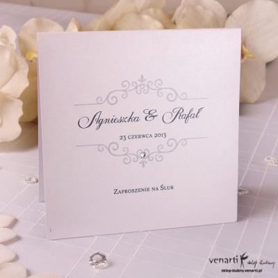 Zaproszenie ślubne perłowe z cyrkonią