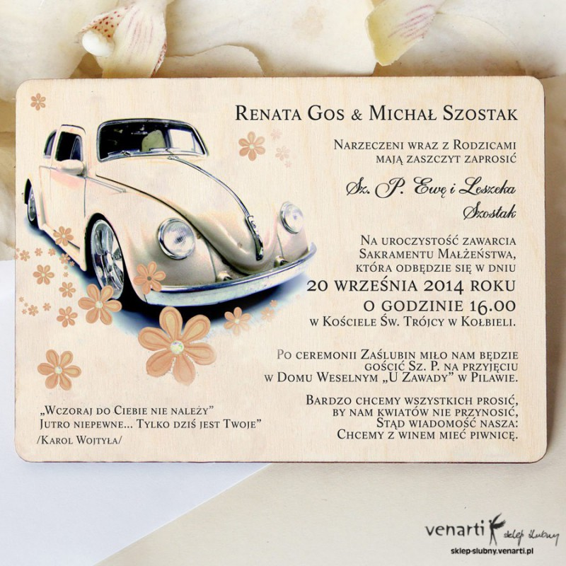 Drewniane zaproszenia ślubne Samochód Garbus