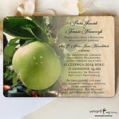Jabłoń Drewniane zaproszenia DZ059