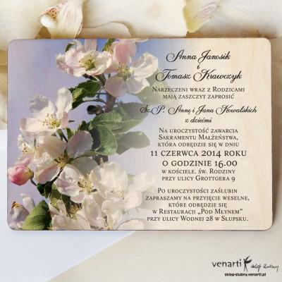 Kwiaty jabłoni Drewniane zaproszenia DZ060