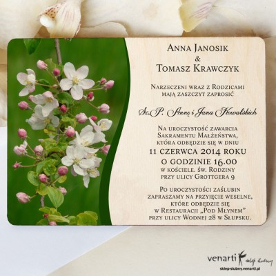 Kwiaty jabłoni Drewniane zaproszenia DZ061