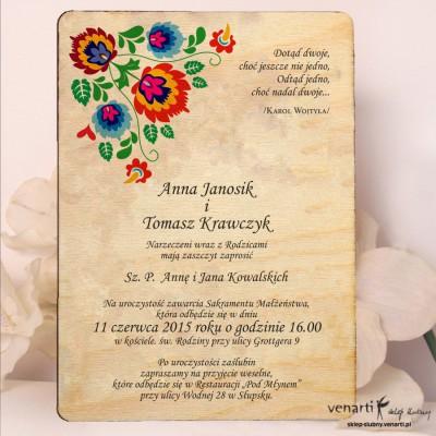 Kwiaty folk Drewniane zaproszenia DZ062
