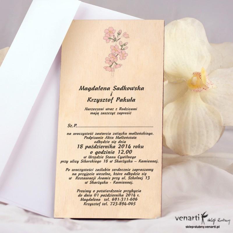 Różowa gałązka Drewniane zaproszenia DZ071