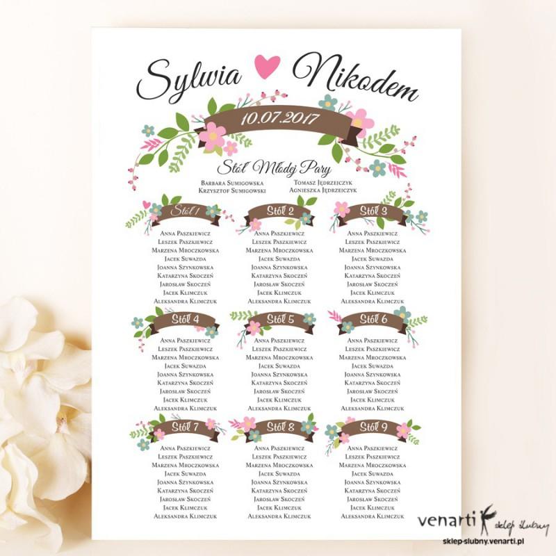 Kwiaty Plan stołu plakat A3