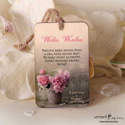 Ślubne drewniane zawieszki Kwiaty w wazonie ZD029