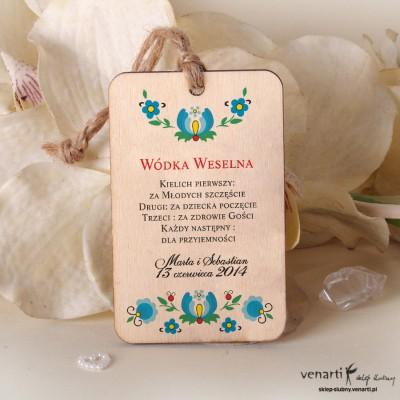 Kwiaty folk Ślubne drewniane zawieszki ZD033
