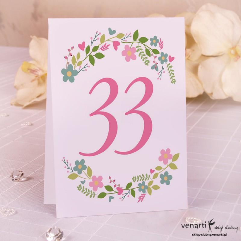 Numerki na stół kwiaty NP012