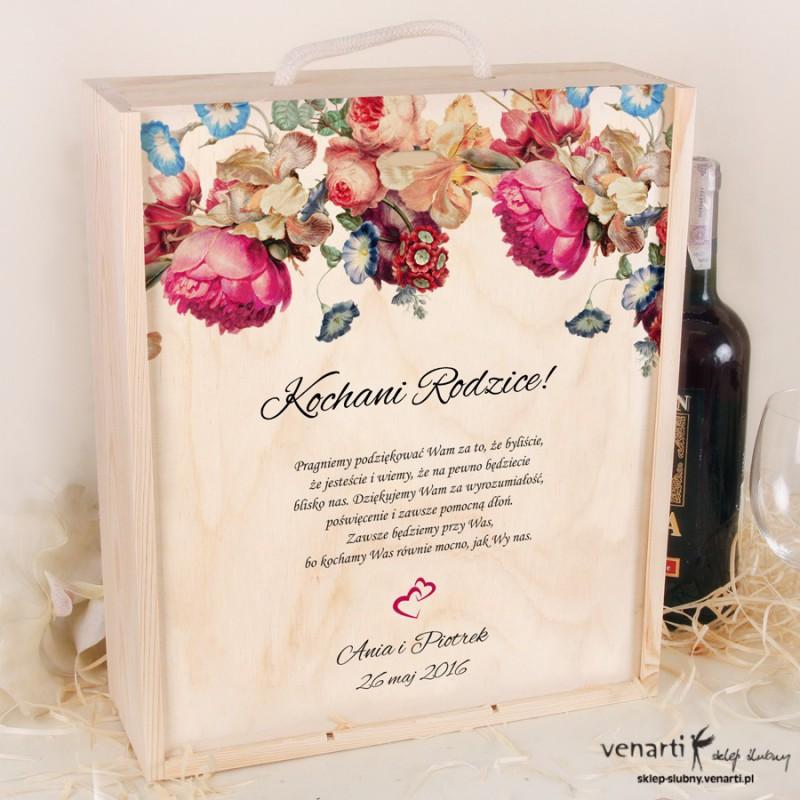 Eko kwiaty Skrzynka na wino + 2 kieliszki