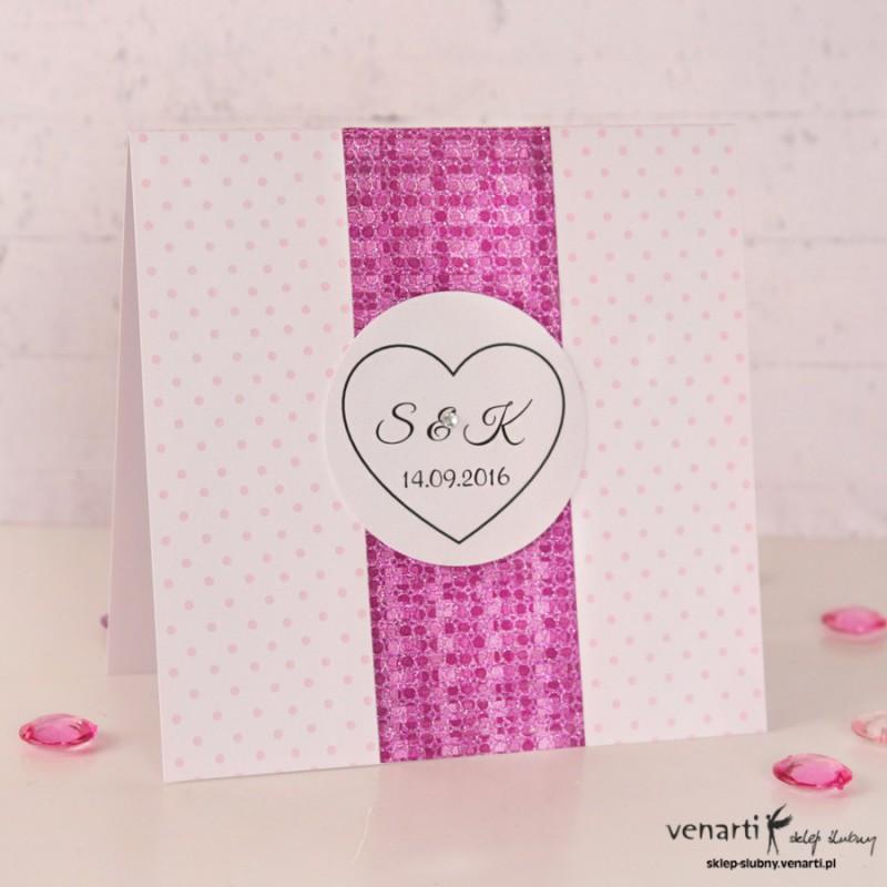 Zaproszenia ślubne brokatowe różowe K040