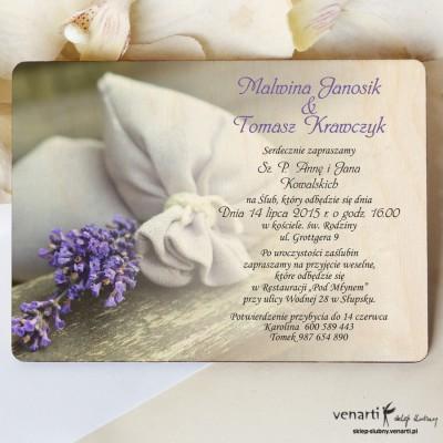 Drewniane zaproszenia ślubne Worek wrzosu
