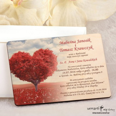 Drzewo w kształcie serca zaproszenia ślubne DZ072