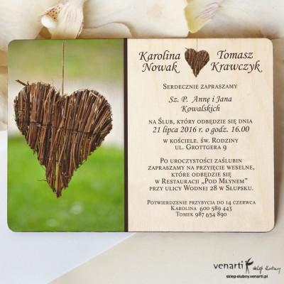 Drewniane zaproszenie Serce z patyków