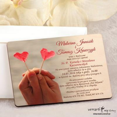 Lizaki w kształcie serca zaproszenia ślubne DZ073