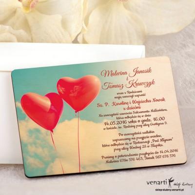 Balony w kształcie serca zaproszenia ślubne DZ074