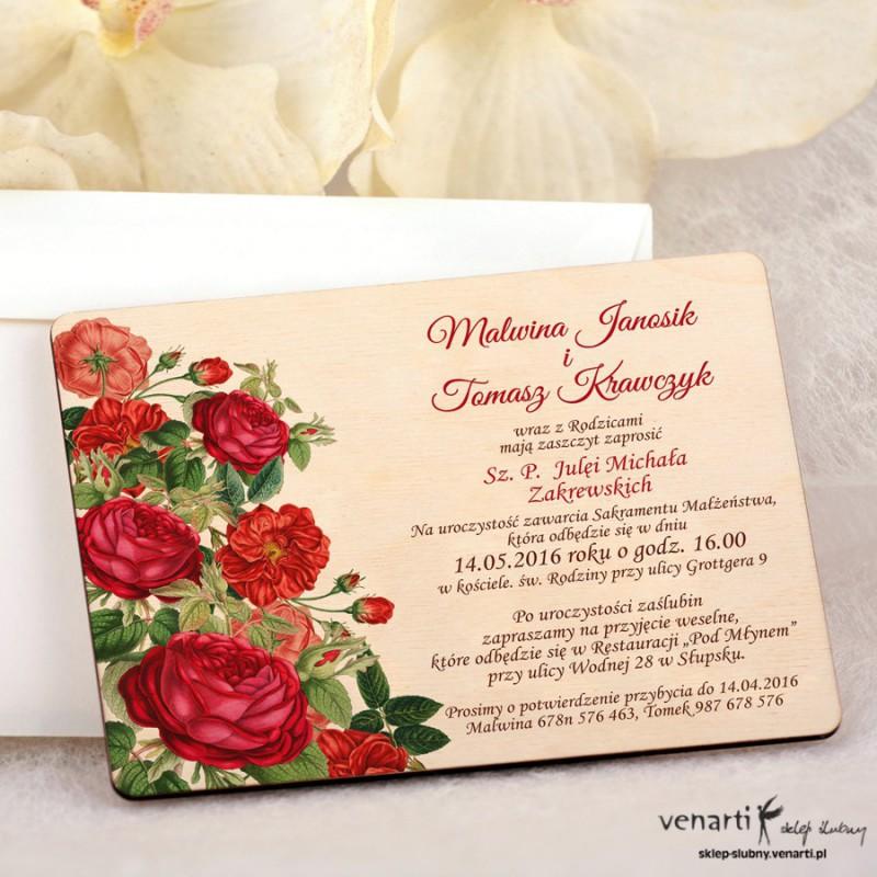 Czerwone róże zaproszenia ślubne DZ075