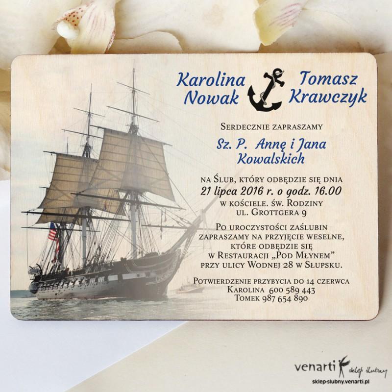 Drewniane zaproszenia ślubne marynarskie - Okręt