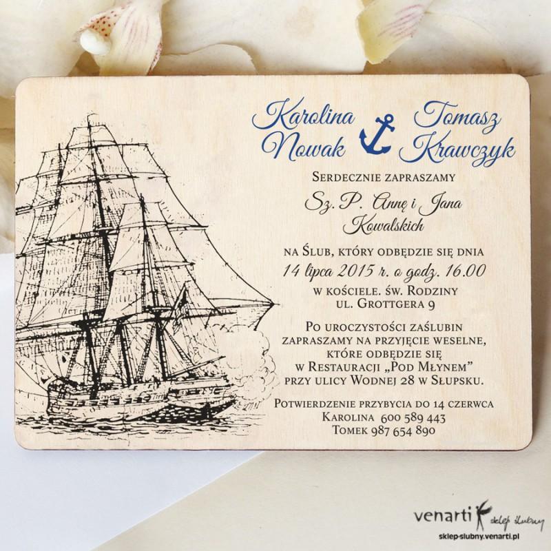 Drewniane zaproszenia ślubne marynarskie - Okręt rysunkowy