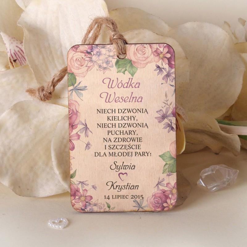 Ślubne drewniane zawieszki Kwiatowe