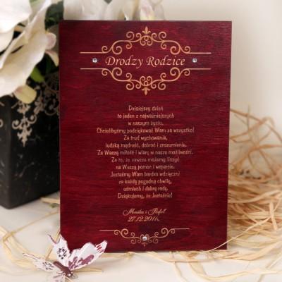 Drewniany dyplom ślubny D008