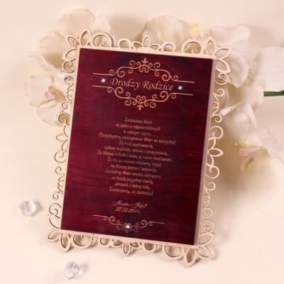 Drewniany dyplom ślubny D008a