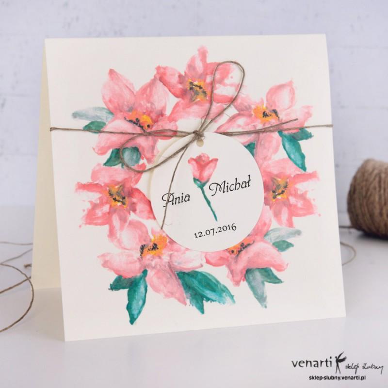 Zaproszenia ślubne kwiaty akwarela