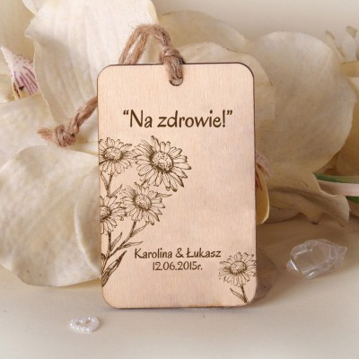 Ślubne drewniane zawieszki Stokrotki ZD032