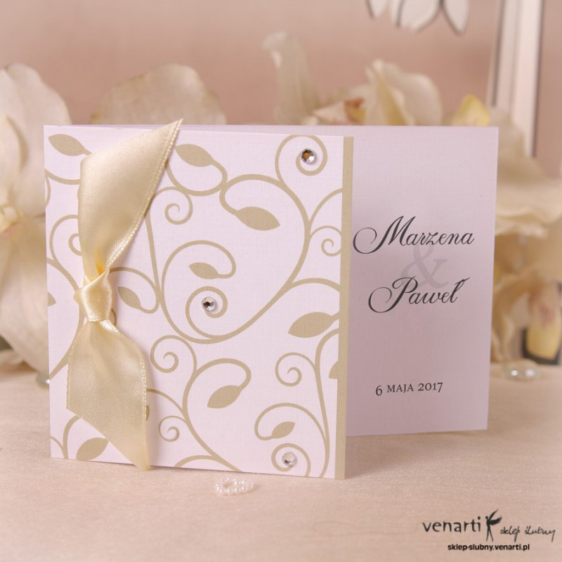 Zaproszenie ślubne z dużą wstążką