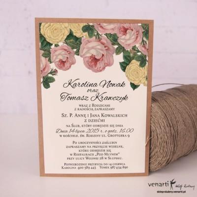 Zaproszenia ślubne kwiatowe KP040