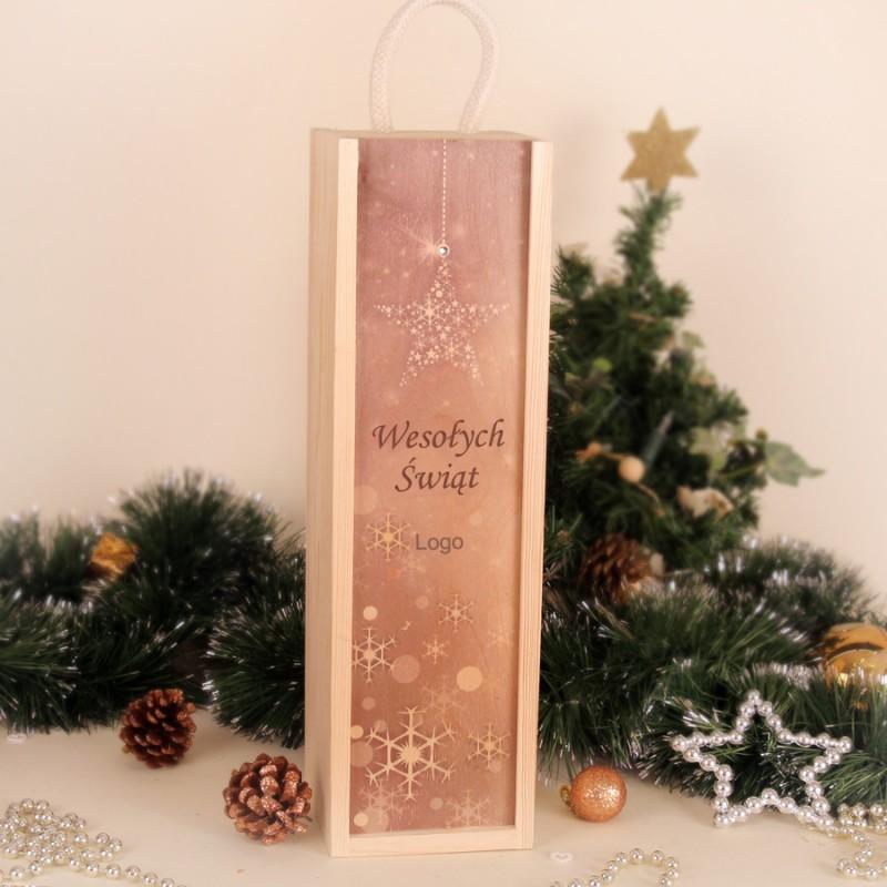 Świąteczna skrzynka na wino nadruk SWSKMN001