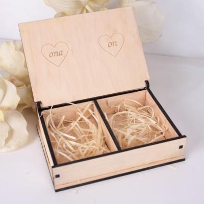 Drewniane pudełko na obrączki duże