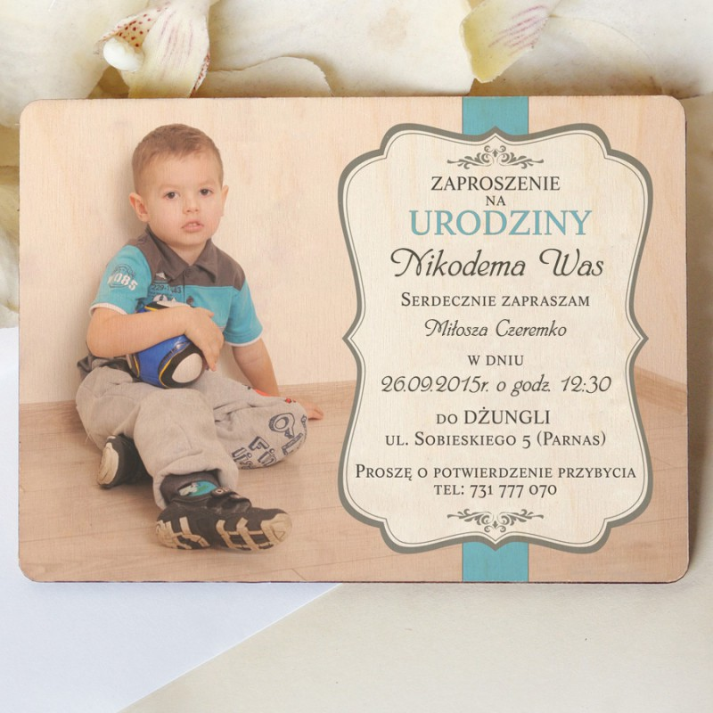Drewniane zaproszenie na urodziny z Waszym zdjęciem