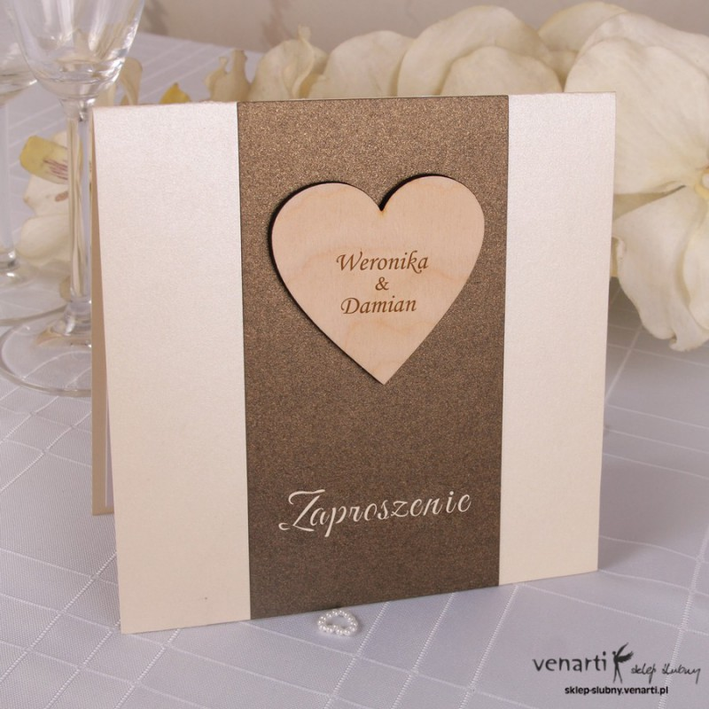 Zaproszenie ślubne Drewniane serce
