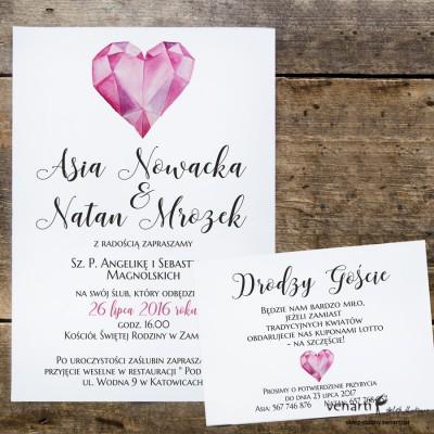 Diamentowe serce Zaproszenia ślubne z wkładką KP046