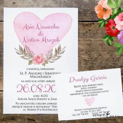 Serce z kwiatami Zaproszenia ślubne z wkładką KP047