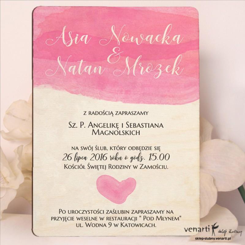 Różowa akwarela drewniane zaproszenia ślubne DZ082