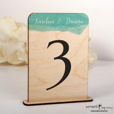 Niebieska akwarela Ślubne drewniane numerki na stół NSD017
