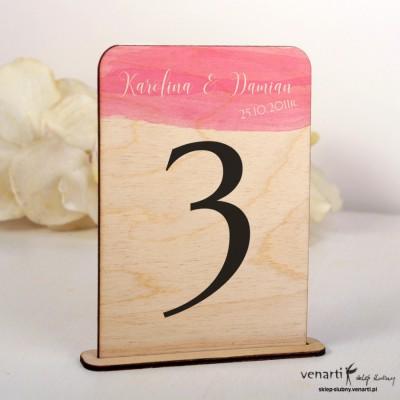 Różowa akwarela Ślubne drewniane numerki na stół NSD018