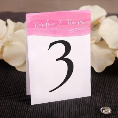 Numerki na stół różowa akwarela NP015
