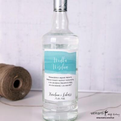 Etykiety na alkohol Niebieska akwarela P006