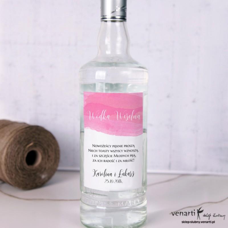 Etykiety na alkohol Różowa akwarela EP007