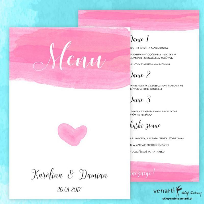 Menu weselne Różowa akwarela ME015