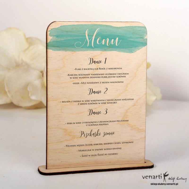 Niebieska akwarela Drewniane menu MD007