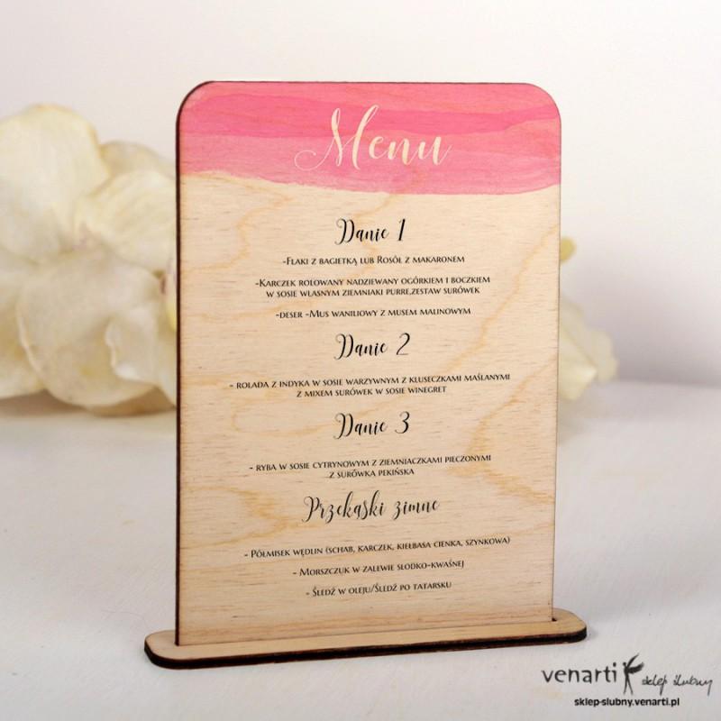 Różowa akwarela Drewniane menu MD008