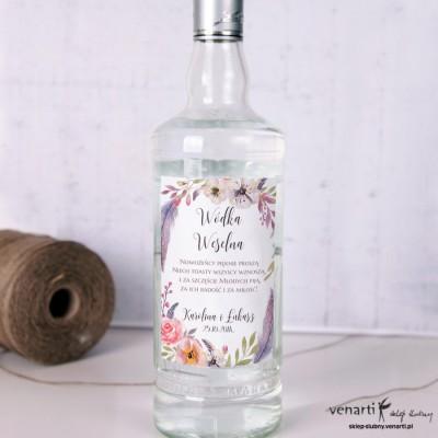 Etykiety na alkohol Boho kwiaty EP009