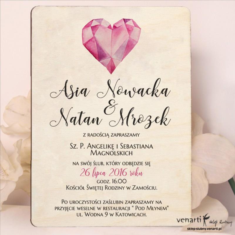 Diamentowe serce drewniane zaproszenia ślubne DZ083